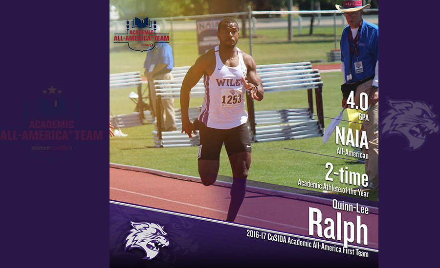 Quinn-Lee Ralph maintained a 4.0 GPA while competing on the Wiley College track and field team.